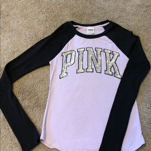 Victoria Secret PINK long sleeve thermal w/sequin.
